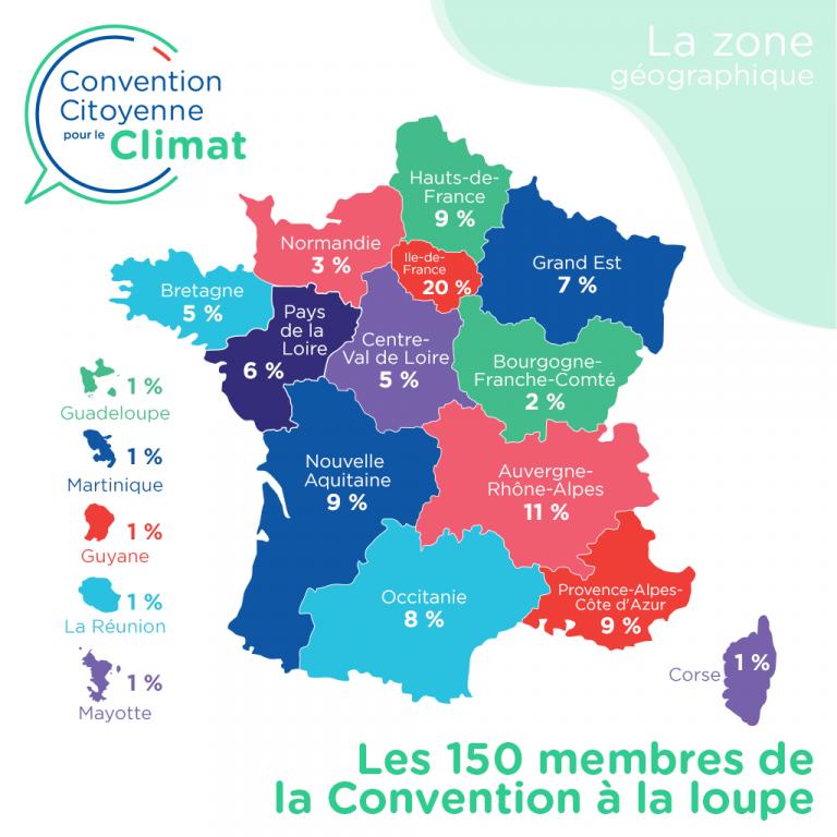 Régions des 150 membres de la Convention